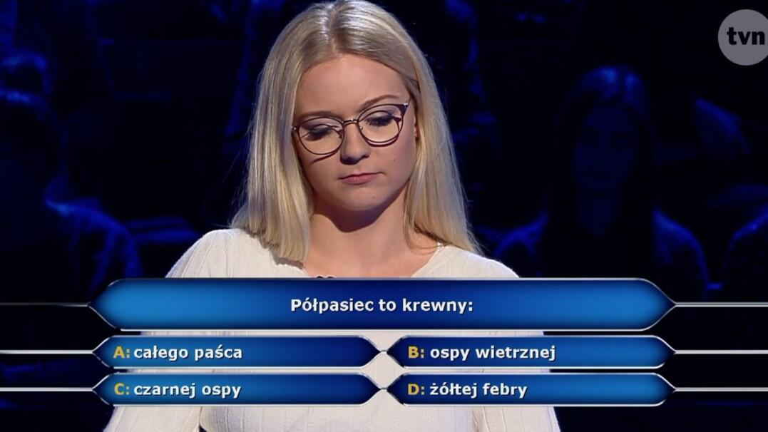 """Co to jest półpasiec? Pytanie z """"Milionerów"""" za dwa tysiące złotych"""