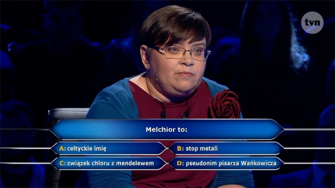 """Pytanie w """"Milionerach"""" za 20 tysięcy złotych o znaczenie słowa melchior"""