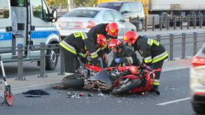 Wypadek motocyklisty na moście Grota