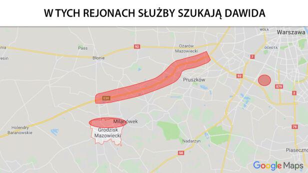 Rejony poszukiwań Google maps / tvn24.pl