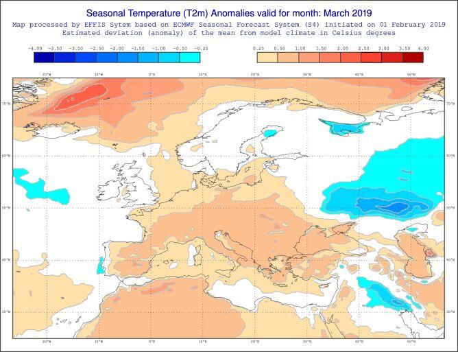 Prognoza odchylenia od średniej miesięcznej temperatury dla marca według modelu ECMWF