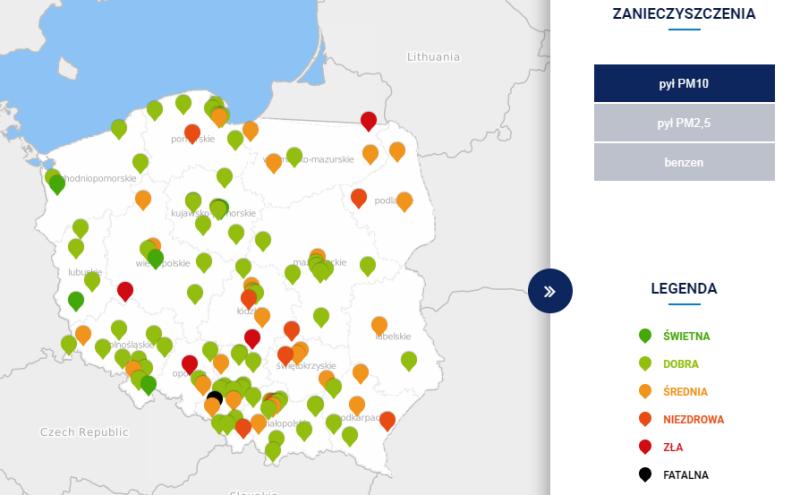 Stężenie pyłu PM10 w Polsce o godzinie 18 (tvnmeteo.pl za GIOŚ)