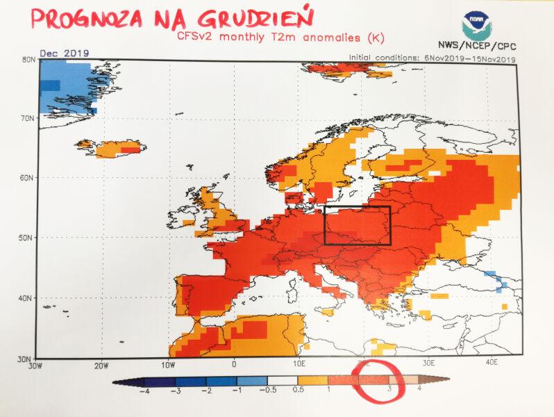 Prognozowane odchylenie od temperatury powietrza w grudniu (NOAA)