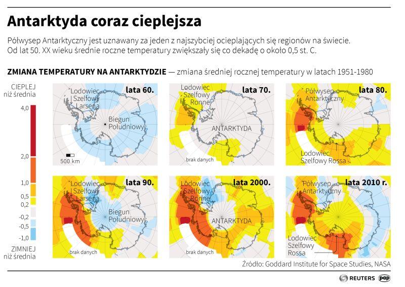 Zmiana temperatury na Antarktydzie (Adam Ziemienowicz/PAPReuters)