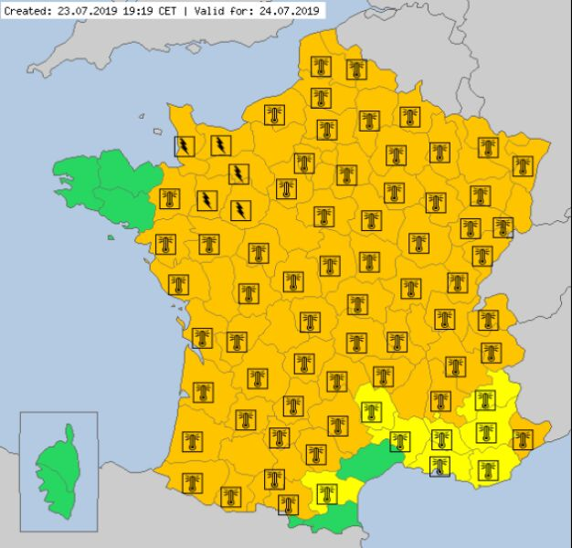 Ostrzeżenia meteorologiczne we Francji (meteoalarm.eu)