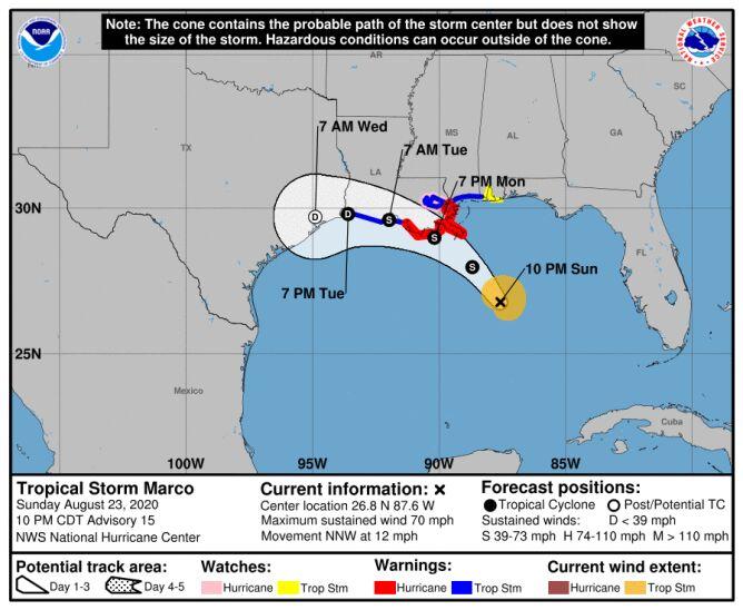 Prognozowana trasa huraganu Marco (NHC NOAA)