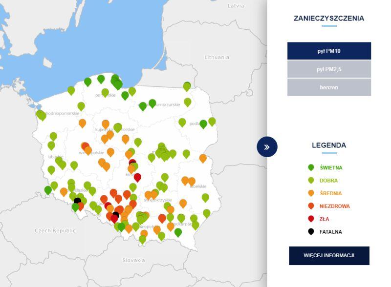 Stężenie pyłu PM10 o godzinie 10 (tvnmeteo.pl za GIOŚ)