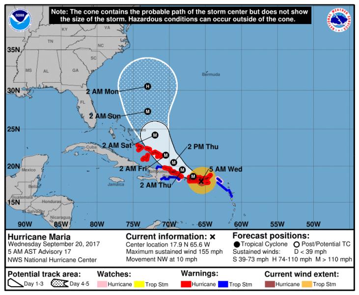 Prognozowana ścieżka huraganu Maria (NHC/NOAA)