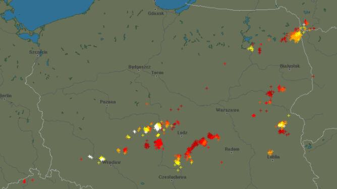 Wędrówka burz nad Polską. <br />Grzmi w wielu regionach