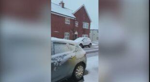 Opady śniegu w hrabstwie Essex w Anglii